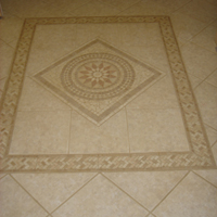 Custom tile florring in sunroom